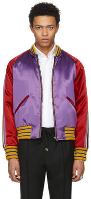 Gucci Purple Blind For Love Tiger Bomber Jacket