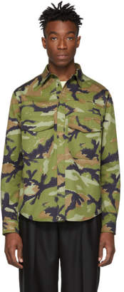 Valentino Green Camo Overfit Shirt Jacket