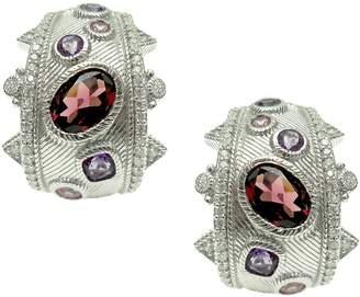 Judith Ripka Sterling Multi Gemstone Hoop Earrings