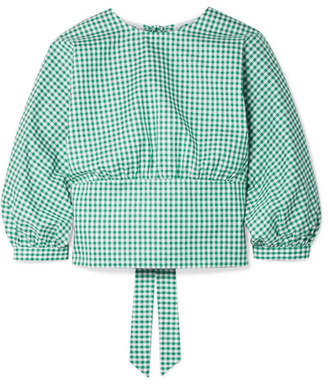 MDS Stripes - Louise Open-back Gingham Cotton-poplin Top - Green