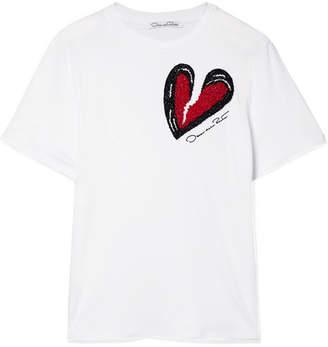 Oscar de la Renta Embellished Micro Modal And Supima Cotton-blend T-shirt - White