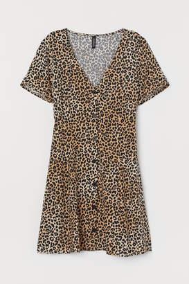 H&M V-neck Viscose Dress - Beige