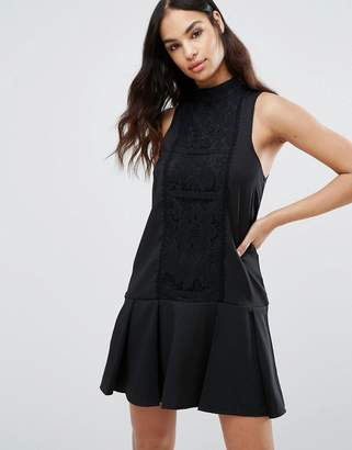 Missguided Lace Panel Drop Hem Dress