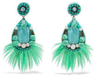 Ranjana Khan Jae Feather And Crystal Clip Earrings - Mint
