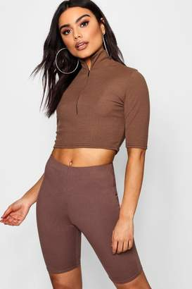 boohoo Funnel Neck Zip Up Rib Knit Crop
