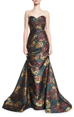 Jovani Strapless Floral Jacquard Mermaid Gown, Multicolor $760 thestylecure.com