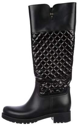 Salvatore Ferragamo Rubber Knee-High Boots