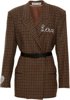 Mach & Mach Love+Heart Belted Wool Blazer
