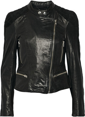 Muubaa Yarra nubuck-trimmed leather biker jacket $575 thestylecure.com