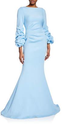 Jovani Shirred Balloon-Sleeve Gown