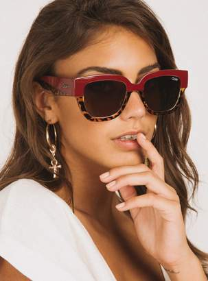 Quay Don't Stop Sunglasses Red Tort/Brown