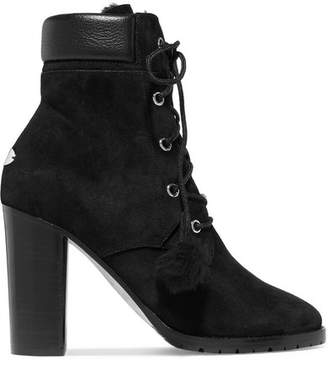 Jimmy Choo Elba 95 Shearling-lined Suede Ankle Boots - Black