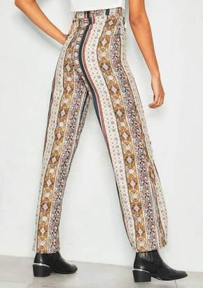 25597b5bbdc Missy Empire Missyempire Ella Beige Paisley High Waist Trousers
