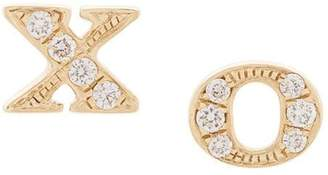 Sydney Evan 14kt yellow gold XO diamond stud earrings