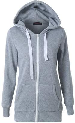 Suvotimo Women Casual Pullover Fleece Full Zip Up Hoodie Sweater Sweatshirts Tops S
