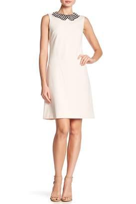 Betsey Johnson Mock Pearl Collared Sleeveless Crepe Dress