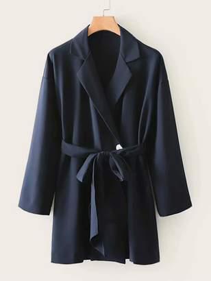 Shein Self Tie Button Front Blazer Dress