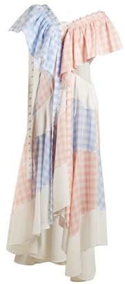 Loewe Gingham Patchwork Cotton Dress - Womens - Pink Multi