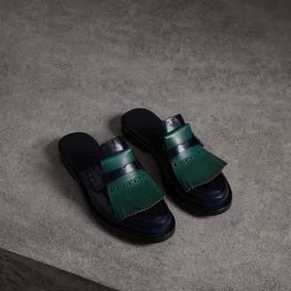 Burberry Contrast Kiltie Fringe Leather Mules , Size: 36, Blue