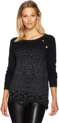 Desigual Women's Gaea Woman Flat Knitted Thin Gauge Pullover, Black, L