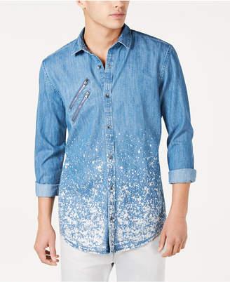 INC International Concepts I.n.c. Men Paint Splatter Denim Shirt