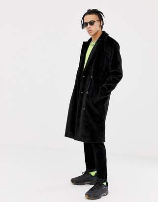 Asos Design DESIGN longline overcoat in faux fur