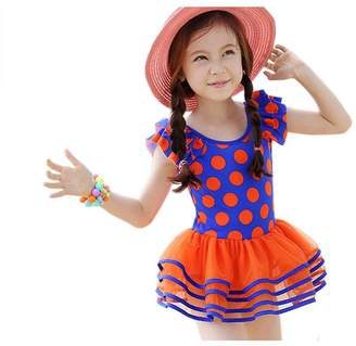 YueLian Little Girl's Tutu Dress Onesie Swimsuit Dot Printing Summer Bathing Suit