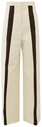 Jil Sander Largo Stripe Cotton Twill Wide Leg Trousers - Womens - Beige Multi
