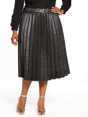 LOST INK CURVE Coated Pleated Skirt - Black