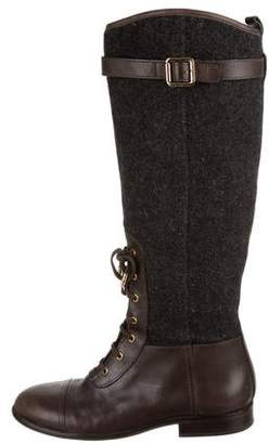 Tory Burch Lace-Up Knee-High Boots