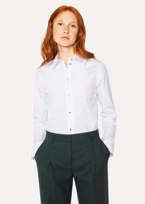Paul Smith Women's Slim-Fit White Shirt With 'Daisy Polka' Buttons