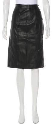 Ralph Lauren Purple Label Knee-Length Leather Skirt