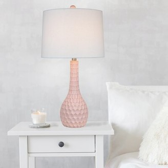 """Off-White Grandview Gallery 27"""" Pearl Poly Table Lamp W Linen Drum Shade Grandview Gallery"""
