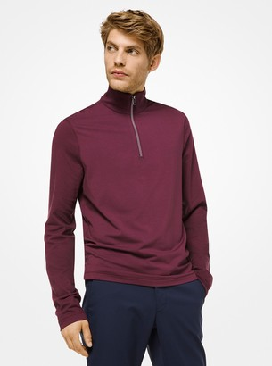 Michael Kors Stretch-Cotton Quarter-Zip Pullover