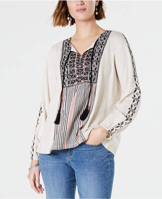 Style&Co. Style & Co Cotton Embroidered Tunic Blouse