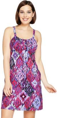 Denim & Co. Beach Drawstring Ruched Swim Dress