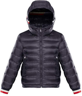 Moncler Quilted Hooded Jacket w/ Striped Trim, Size 8-14