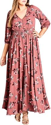City Chic Rose Play Maxi Dress