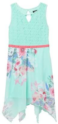 Zunie SL Lace Top\u002FHanky Hem Skirt Dress (Big Girls)