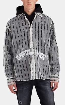 Warren Lotas Men's Barbed-Wire-Print Silk Oversized Shirt - Cream