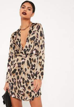Missguided Nude Animal Print Silky Plunge Wrap Shift Dress
