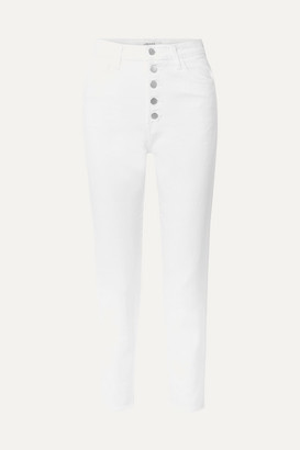 J Brand Heather Cropped High-rise Straight-leg Jeans - White