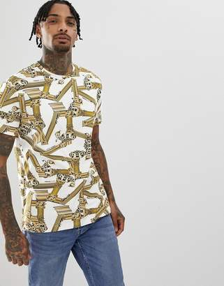 Versace t-shirt with all over logo print in white