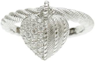 Judith Ripka Sterling Diamonique Heart Charm Ring