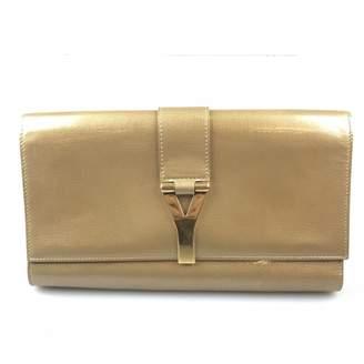 Saint Laurent Chyc Gold Leather Clutch Bag
