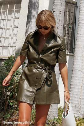 Urban Outfitters Faux Leather Button-Down Shirt Dress