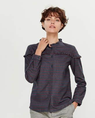 Le Mont St Michel Ruffle Stripe Long Sleeve Shirt