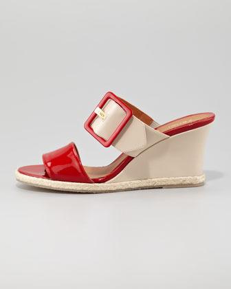 Fendi Colorblock Patent Demi Wedge Sandal, Red/Nude