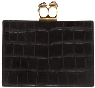 Alexander McQueen Knuckle crocodile-effect leather clutch