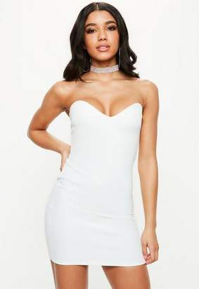 Missguided White Bandeau Sweetheart Bodycon Dress